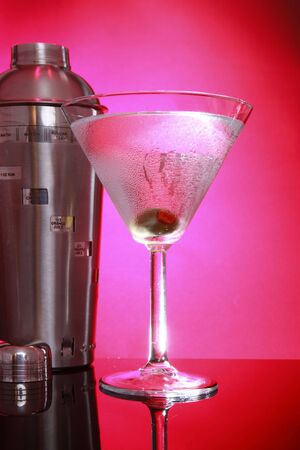 stirred: Pink Martini and shaker, not stirred left