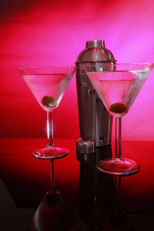 stirred: Pink Martinis and shaker, not stirred perspective right