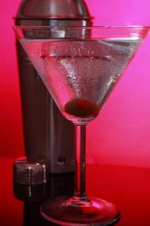 stirred: Pink Martini and shaker, not stirred close up