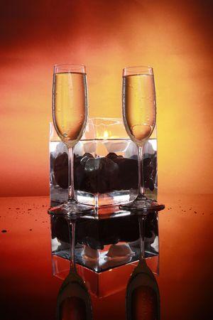 Celebration sparkly in 2 glasses photo
