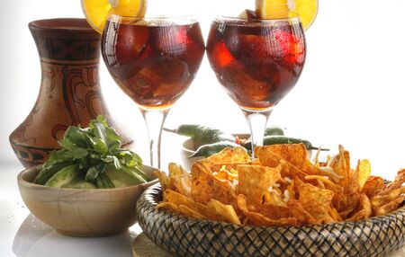Sangria, corn chips and guacamole horizontal photo