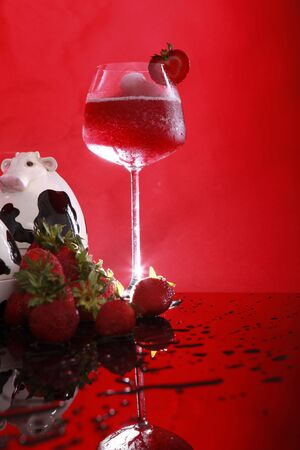 tonight: Strawberry Smoothie turns into Daiquiri tonight Stock Photo