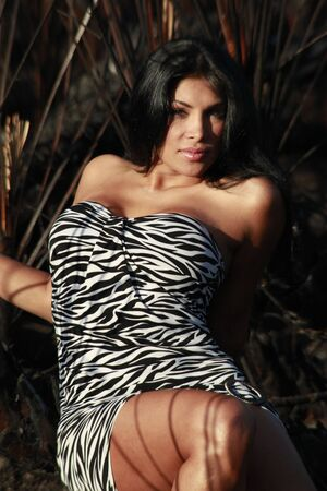 Animal print dress, brunette and charred wild palm background leaving striped pattern over skin Stock Photo - 4689702