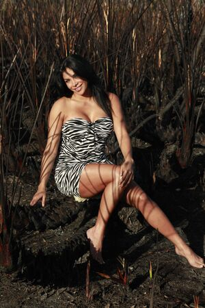 Animal print dress, brunette and charred wild palm background leaving striped pattern over skin Stock Photo - 4689749