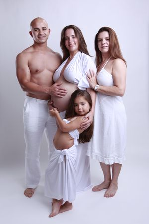 4 happy generations in one white space photo