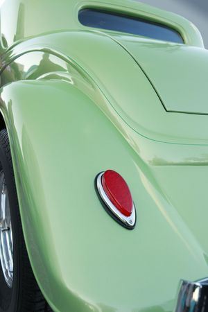 taillight: Green hotrod taillight and fender Stock Photo