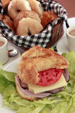 Good morning deli meats croissant breakfast Stock Photo - 4793228