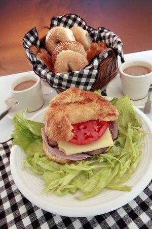 meats: Good morning deli meats croissant breakfast