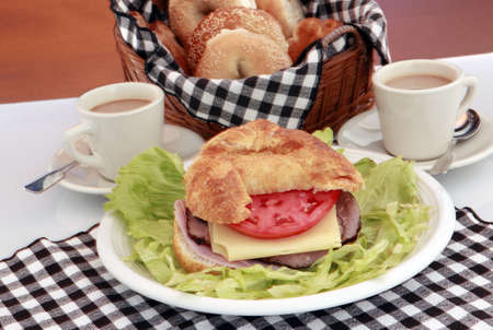 Good morning deli meats croissant breakfast Stock Photo - 4793230