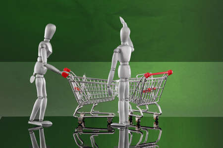 Shopping cart encounters - reaching high Stock Photo - 4811519