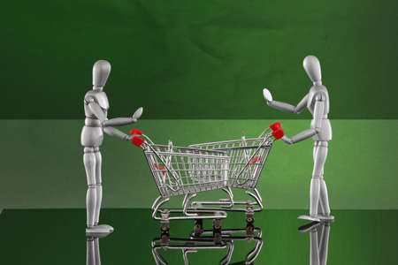 Shopping cart encounters - reading labels Stock Photo - 4811517