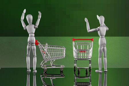 Shopping cart encounters - reaching high Stock Photo - 4811518