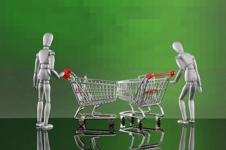 Shopping cart encounters - checking the merchandise Stock Photo - 4811516