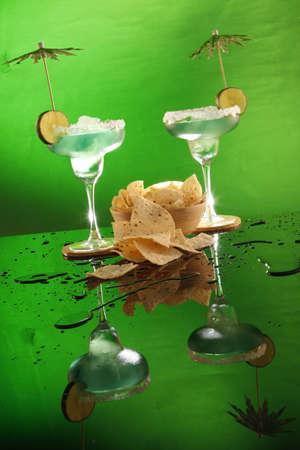 corn tortilla: Margaritas and corn tortilla chips, andale!  Stock Photo