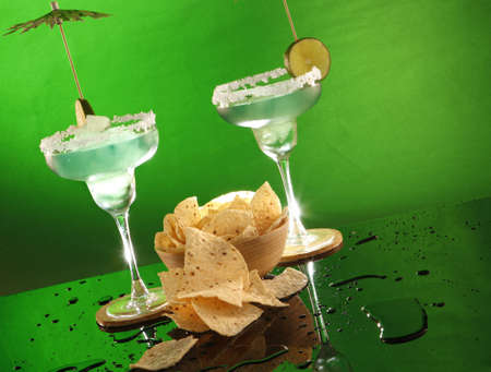 rimmed: Margaritas and corn tortilla chips, andale! Stock Photo