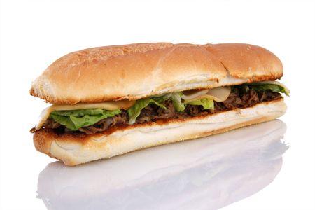 Grilled Philadelphia cheese steak sandwich