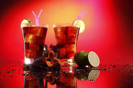 Rum and cola - Cuba Libre - with exotic chips 写真素材