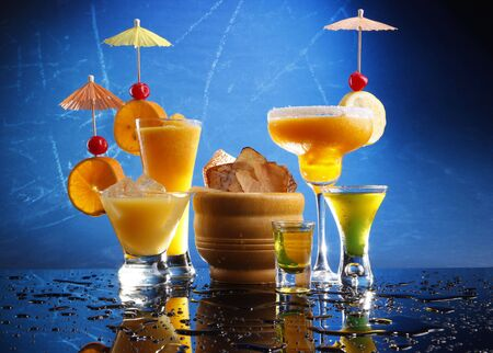 Passion Daiquiri; Mango Margarita; Screwdriver and Triple-Sec Stok Fotoğraf