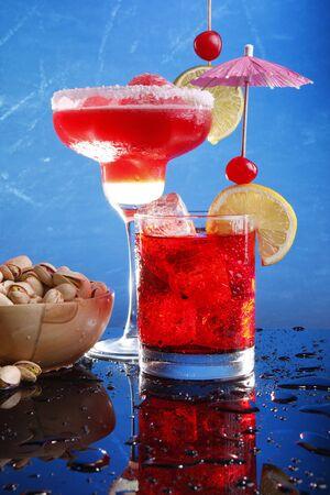 Strawberry Margarita and Grenadine Fizz with pistachio