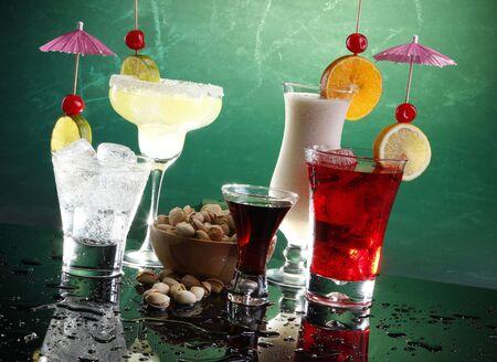 fizz: Margarita, Fizz, coffee liquor, cosmopolitan on the rocks and Colada with pistachio