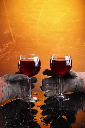 Hard work deserves a good wine! Stock Photo