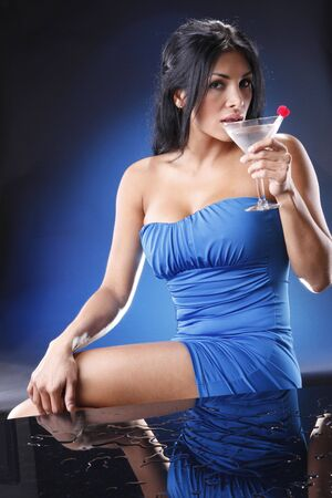 Martini girl on blue. Matches red, white and blue cocktail collection. photo