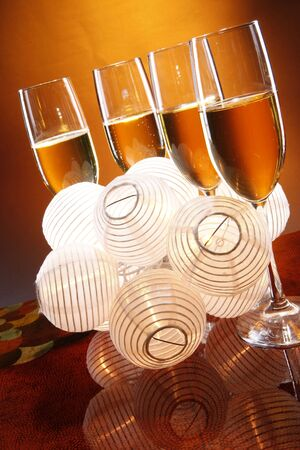 Wedding champagne with chinese lantern favors photo