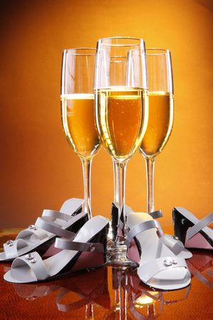 Wedding celebration champagne and favors photo