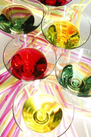 shaken: Multicolored martinis and colorful straws