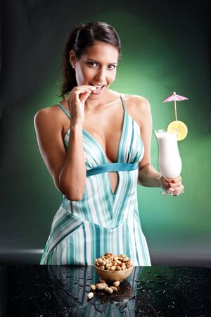 Cute brunette and colada. Matches happy drinks on teal collection. photo