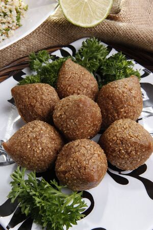 delicacy: Deep fried Kibbe middle eastern lamb and bulgur wheat delicacy Stock Photo
