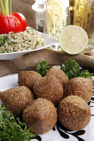 cater: Fried Kibbe, Tabouli and Hummus Tahine