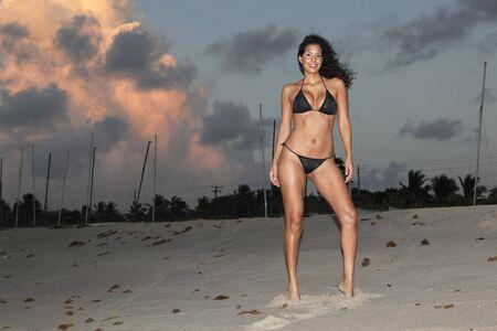 Young woman an fire cloud photo
