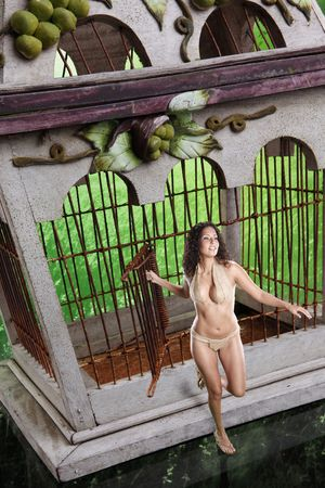 Give freedom to green. Vintage birdcage and cute girl. photo