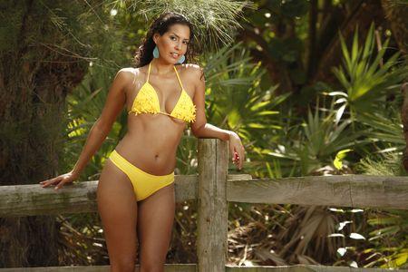 luscious: Yellow bikini on a farm fence