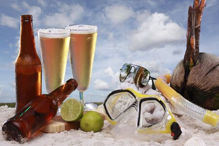 A couple of cold beers at he beach photo