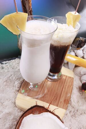 Colada and frozen coffee cocktails at the beach photo