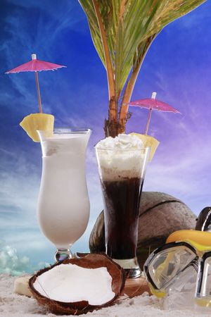 colada: Colada and frozen coffee cocktails at the beach Stock Photo