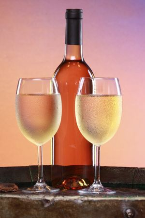 Close up of very cold white wine glasses Stock Photo - 5652224