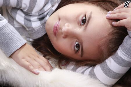 Peaceful expression from a cute preteen Stock Photo - 5674566