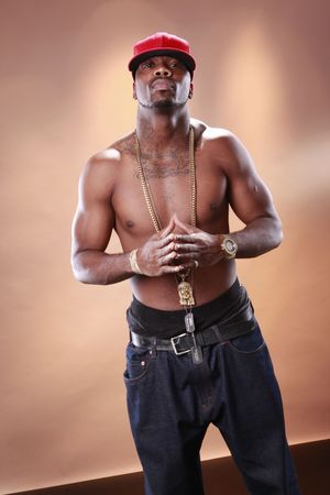 Rapper attitude of a young African American photo