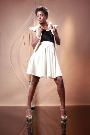 Cute African American in white and black outfit photo