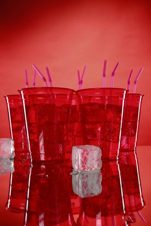 Kid's party red sodas and ice cubes Stock Photo - 5806745