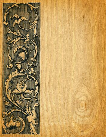 Renaissance engravings on  red oak wood photo