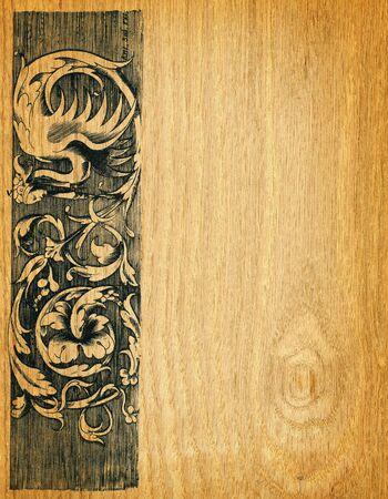 engravings: Renaissance engravings on  red oak wood Stock Photo