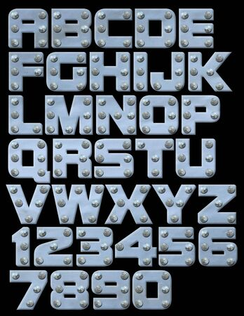 Riveted metallic alphabet you can compose photo