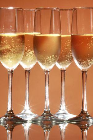 mitzvah: Sparkling wine on salmon background