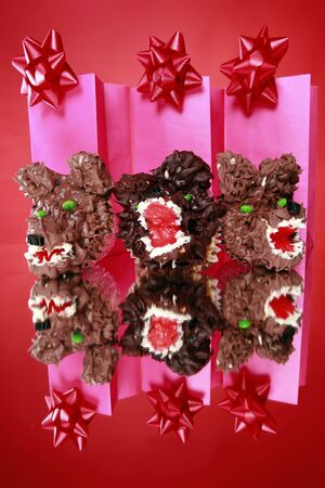 Kid's party creative werewolf cupcakes and gift bags with bows Stock Photo - 5806785