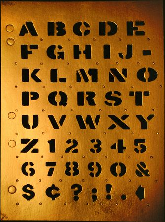 Grunge stencil alphabet so you can compose your message photo