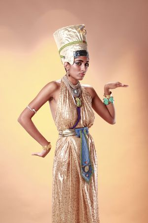 Egyptian queen in pharaoh costume Stock Photo